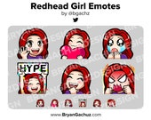 Wave, Love, Sad, Hype, LUL and Rage Redhead/Red Hair Girl Emotes for Twitch, Discord or Youtube