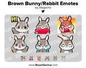 Brown Bunny / Rabbit Emotes for Twitch, Discord or Youtube