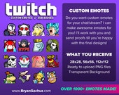 Custom Twitch Emotes for Twitch, Discord or Youtube (Digital Only)