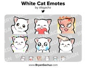 White Cat Wave, Love, Rage, HYPE, Sad and Pat Emotes for Twitch, Discord or Youtube
