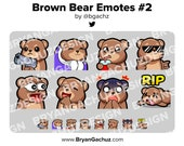 Brown Bear Gun, Cozy, Sip, Cool, POG, LUL, Shocked and RIP Emotes for Twitch, Discord or Youtube