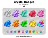 Colorful Crystal Subscriber - Loyalty - Bit Badges for Twitch, Discord or Youtube