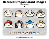 Bearded Dragon Lizard Subscriber - Loyalty - Bit Badges for Twitch, Discord or Youtube