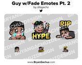 Sad, Hype and RIP Dark Skin Guy with Fade Emotes for Twitch, Discord or Youtube