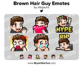 Wave, Love, Hype, Rage, Sad and RIP Brown Hair Guy Emotes for Twitch, Discord or Youtube