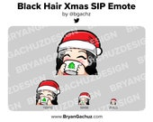 Cute Chibi Christmas SIP Black Hair Emote for Twitch, Discord or Youtube | Christmas