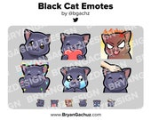 Black Cat Wave, Love, Rage, HYPE, Sad and Pat Emotes for Twitch, Discord or Youtube