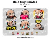 Wave, Love, Hype, Rage, Sad and RIP Bald Brown Skin Guy Emotes for Twitch, Discord or Youtube