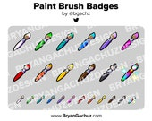 Colorful Paintbrush / Paint Brush Subscriber - Loyalty - Bit Badges - Channel Points for Twitch, Discord or Youtube