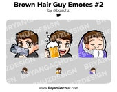 Hair Gun, Cheers and Cozy Brown Hair Guy Emotes for Twitch, Discord or Youtube