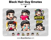 Wave, Love, Hype, Rage, Sad and RIP Black Hair Guy Emotes for Twitch, Discord or Youtube