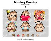 Monkey Wave, Love, Rage, HYPE, Sad and Pat Emotes for Twitch, Discord or Youtube