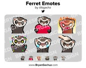 Ferret Wave, Love, Rage, HYPE, Sad and Pat Emotes for Twitch, Discord or Youtube