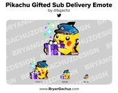 Pokemon Pikachu Special Delivery Gifted Sub Emote for Twitch, Discord or Youtube