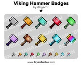 Viking Hammer Subscriber - Loyalty - Bit Badges for Twitch, Discord or Youtube