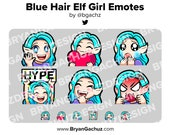 Cute Chibi Wave, Love, Sad, LUL, Hype and Rage Blue Hair Elf Girl Emotes for Twitch, Discord or Youtube