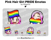 Cute Chibi Pink Hair Girl PRIDE Flag and Heart Emotes for Twitch, Discord or Youtube
