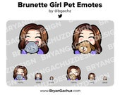 Cute Chibi Brunette/Brown Hair Girl with Pet Emotes for Twitch, Discord or Youtube