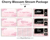 ANIMATED Cherry Blossom Stream Package for Twitch   Animated scenes, 4 static scenes, 18 panels, 3 overlays & 1 background