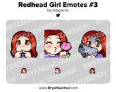 Cute Chibi Shy, Kiss and Gun Redhead/Red Hair Girl Emotes for Twitch, Discord or Youtube