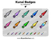 Colorful Ninja Kunai Subscriber - Loyalty - Bit Badges for Twitch, Discord or Youtube