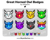 Great Horned Owl Subscriber - Loyalty - Bit Badges for Twitch, Discord or Youtube