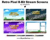 Retro Pixel 8-Bit Stream Screens for Twitch (Animated)
