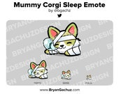 Mummy Corgi SLEEP Emote for Twitch, Discord or Youtube | Halloween