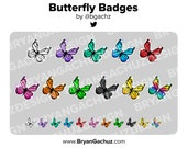 Colorful Butterfly Subscriber - Loyalty - Bit Badges for Twitch, Discord or Youtube
