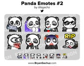 Panda Gun, Cozy, SIP, Cool, POG, LUL, Shocked and Rip Emotes for Twitch, Discord or Youtube