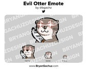 Cute Chibi Kawaii Evil Otter Knife Emote for Twitch, Discord or Youtube