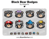 Black Bear Subscriber - Loyalty - Bit Badges for Twitch, Discord or Youtube