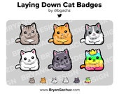 Laying Down Cat Subscriber - Loyalty - Bit Badges for Twitch, Discord or Youtube
