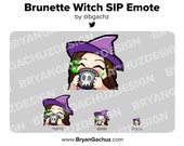 Cute Chibi Witch Brunette/Brown Hair Emote for Twitch, Discord or Youtube | Halloween