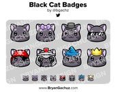 Black Cat Subscriber - Loyalty - Bit Badges for Twitch, Discord or Youtube
