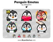 Penguin Wave, Love, Rage, HYPE, Sad and Pat Emotes for Twitch, Discord or Youtube