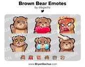 Brown Bear Wave, Love, Rage, HYPE, Sad and Pat Emotes for Twitch, Discord or Youtube