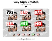 GG, Raid, Ban, Fail, Yes and No Dark Skin Guy Sign Emotes for Twitch, Discord or Youtube