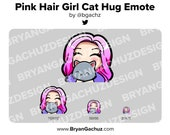 Cute Chibi Pink Hair Girl with Cat Emote for Twitch, Discord or Youtube