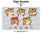 Tiger Wave, RIP, Awe, Rage and Facepalm Emote Pack for Twitch, Discord or Youtube
