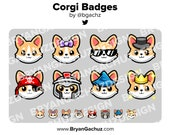 Corgi Dog Subscriber - Loyalty - Bit Badges - Channel Points for Twitch, Discord or Youtube