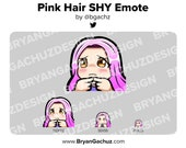 Cute Chibi SHY Pink Hair Emote for Twitch, Discord or Youtube | Christmas