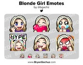 Wave, Love, Sad, Hype, LUL and Rage Blonde Hair Girl Emotes for Twitch, Discord or Youtube
