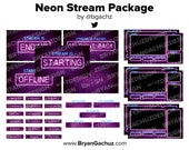 Neon Stream Package for Twitch   4 static scenes, 7 overlays, 5 alerts, 18 panels & 1 background