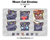 Black Moon Cat Wave, Love, Rage, HYPE, Sad and Pat Emotes for Twitch, Discord or Youtube