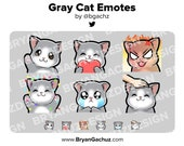 Gray Cat Emotes for Twitch, Discord or Youtube