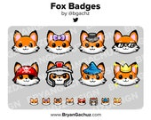 Kawaii Fox Subscriber - Loyalty - Bit Badges for Twitch, Discord or Youtube