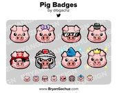 Pig Subscriber - Loyalty - Bit Badges - Channel Points for Twitch, Discord or Youtube