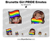 Cute Chibi Brunette/Brown Hair Dark Skin Girl PRIDE Flag and Heart Emotes for Twitch, Discord or Youtube
