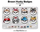 Cute Kawaii Brown Husky Dog Subscriber - Loyalty - Bit Badges - Channel Points for Twitch, Discord or Youtube